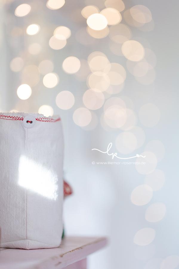 Bokeh, Lichterglas aus altem Leinen, Windlicht