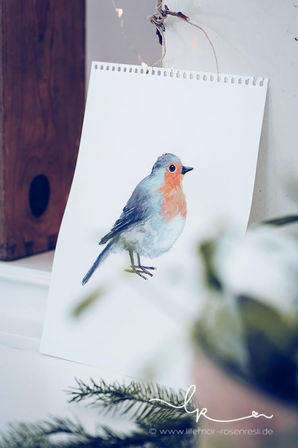 Aquarell, Madeleine, Rotkehlchen, robin, acufactum, Schlüssellochguckerbild, Kalligraphie, Vorschau, Weihnachten 2016, Lillemor Fotografie, Fotograf, Bietigheim-Bissingen