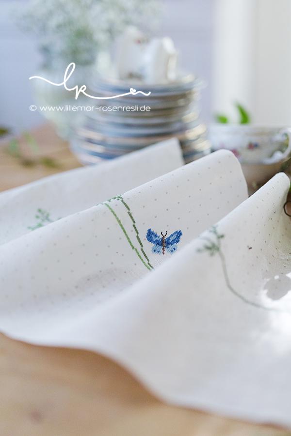 Leinen, Tischläufer, Gräser & Schmetterlinge, Illustration Daniela Drescher