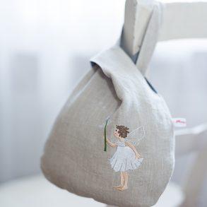 Leinenbeutelchen, bestickt mit dem Pusteblumenelfchen (Motiv Daniela Drescher)
