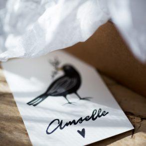 handgemachter Stempel, Amsel, Amselle